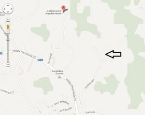 Google vil altså ha det til a la Biancara ligger ved markøren, mens vingården egentlig ligger omtrent der pilen peker.