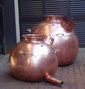 """The 300-litre and 700-litre spirit stills almost complete. Stands, valves, instruments, ""onion"" heads and lyne arms will not be mounted until they sit on the distillery floor."""