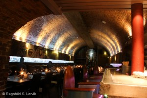 The restaurant section of Bryggerikjelleren, there was an identical vault on the other side of the bar.