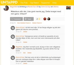 Screenshot fra Untappd.